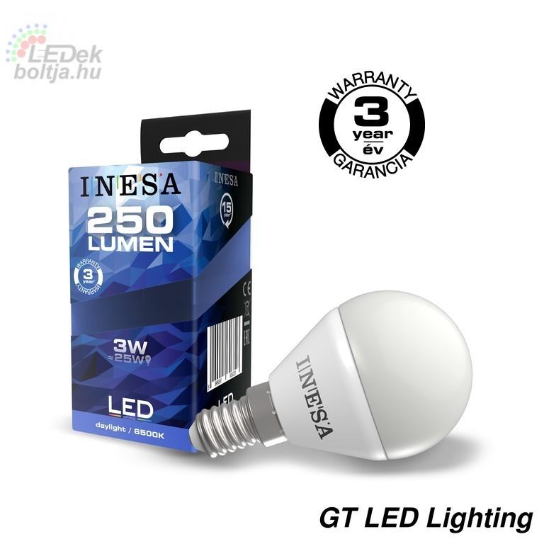 Led izzó E14 3W 160° LED gömb izzó 6500K G3 250Lm