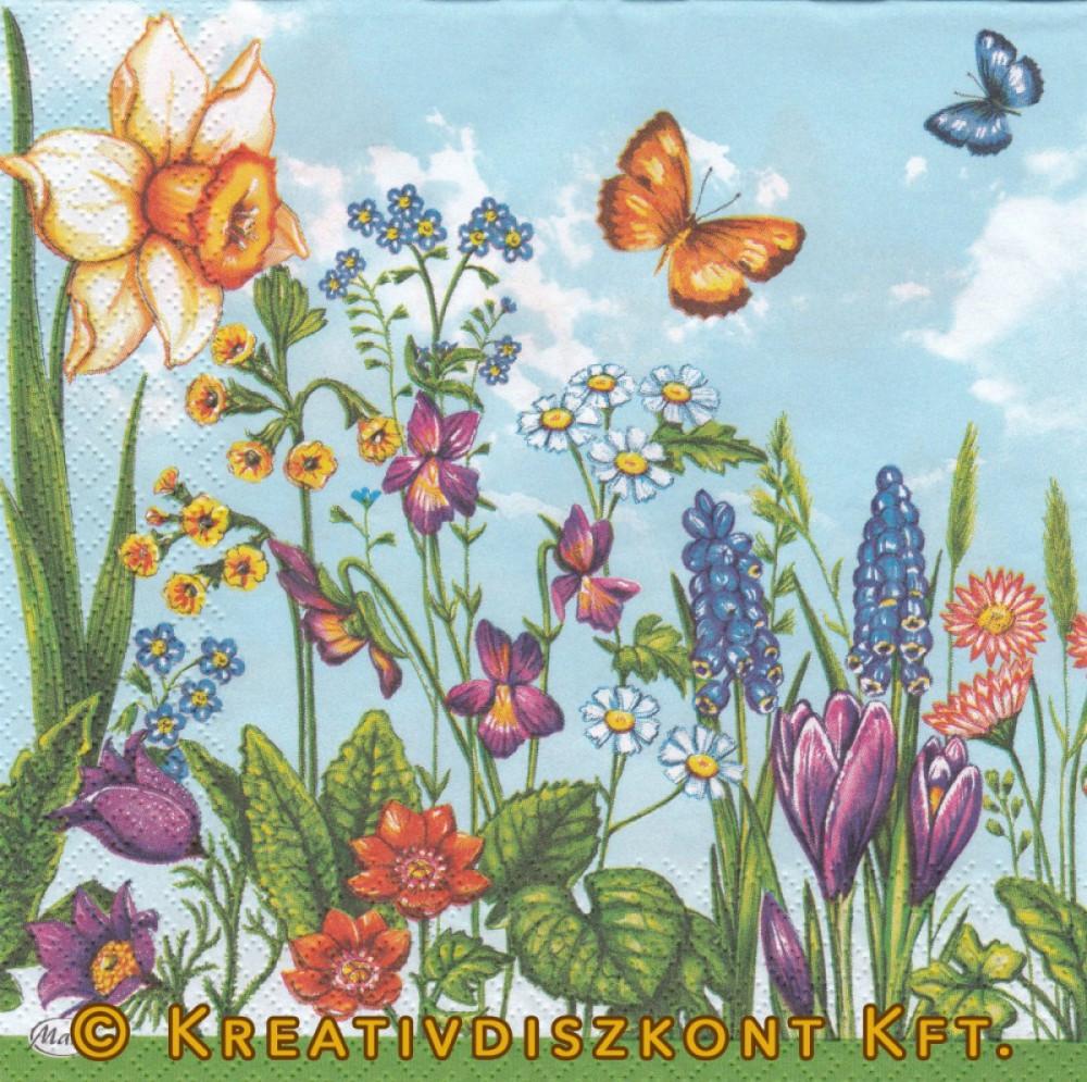 Szalvéta, Virágok, Tavaszi virágok és pillangó
