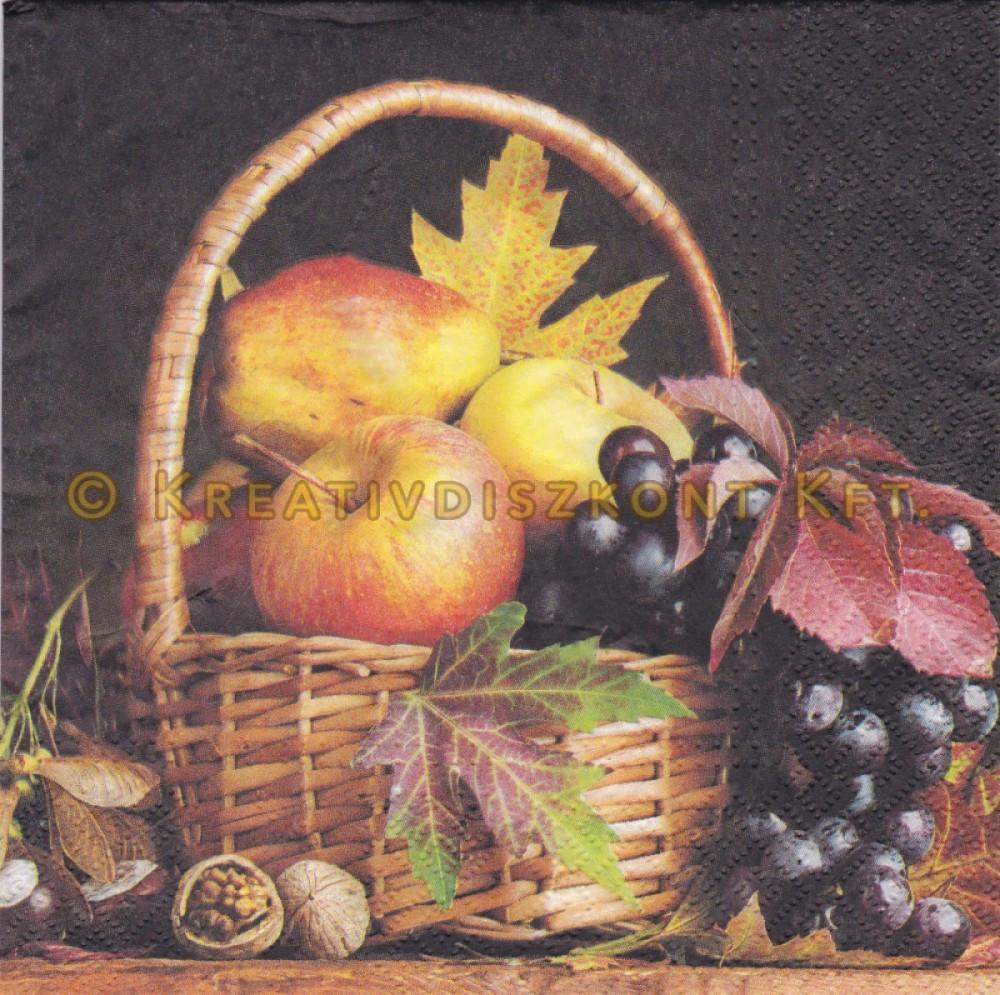 Szalvéták ,  Őszi , Őszi kosár gyümölcsökkel