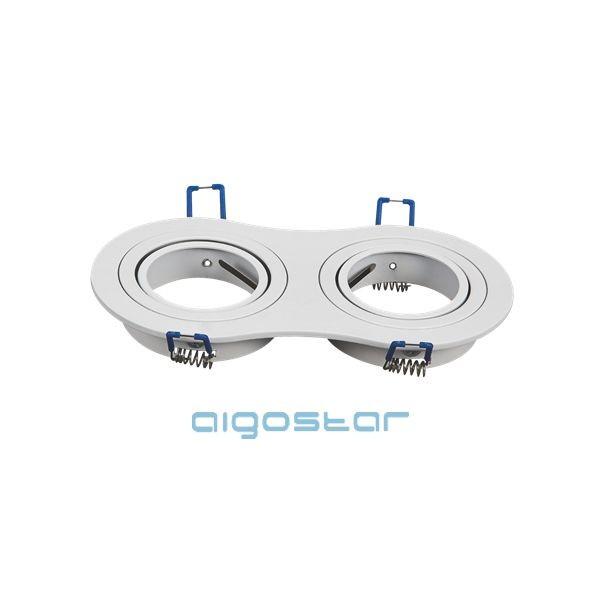 LED spot lámpa beépítő keret kerek dupla M1030R-02 fehér GU10 és MR16-os LED izzókhoz