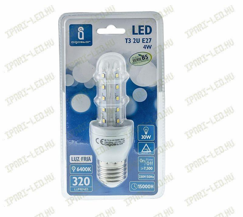 Kukorica LED izzó T3 2U E27 4W hideg fehér