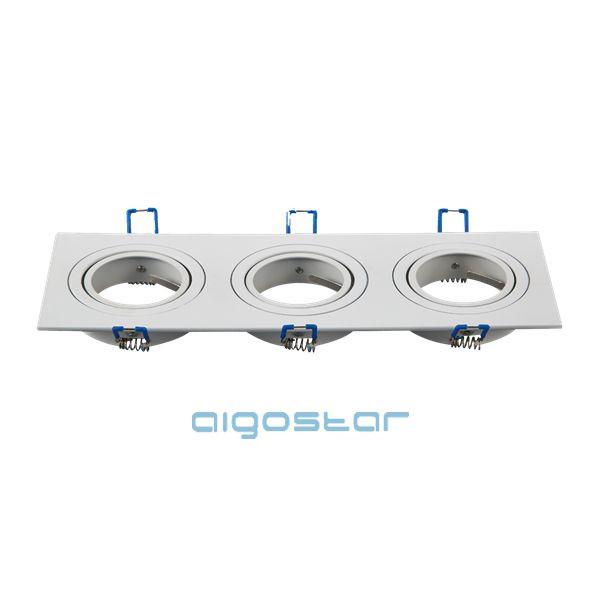 LED spot lámpa beépítő keret szögletes tripla M1030S-03 fehér GU10 és MR16-os LED izzókhoz