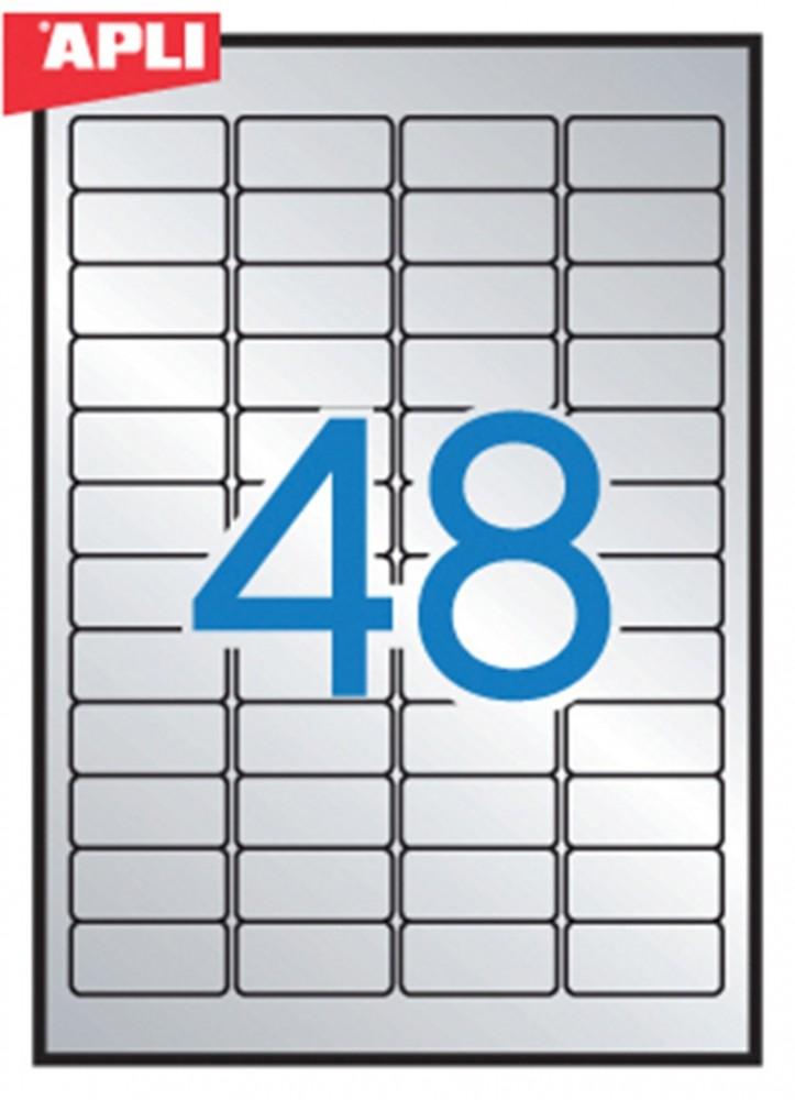 APLI No. 10066 ezüst színű 45,7 x 21,2 mm méretű, lézernyomtatóval nyomtatható, öntapadós ipari etikett címke, erős, tartós ragasztóval A4-es íven - kiszerelés: 960 címke / 20 ív (LCA10066)