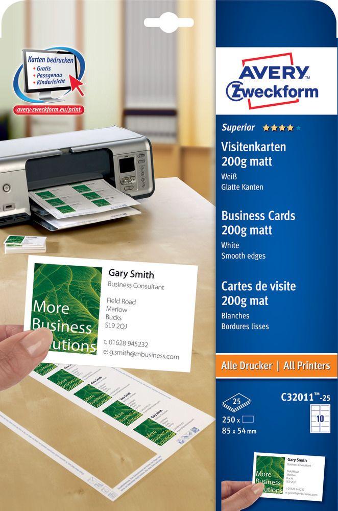 Avery Zweckform No. C32011-25 univerzális 85 x 54 mm méretű, 200 g-os matt, egyoldalas fehér nyomtatható névjegykártya, sima élekkel A4-es íven - 250 névjegykártya / csomag (Avery C32011-25)