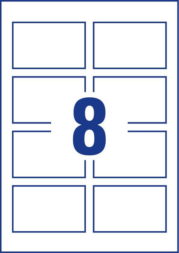 Avery Zweckform No. C32028-25 tintasugaras 85 x 54 mm méretű, 240 g-os fényes, kétoldalas fehér nyomtatható névjegykártya, sima élekkel A4-es íven - 200 névjegykártya / csomag (Avery C32028-25)