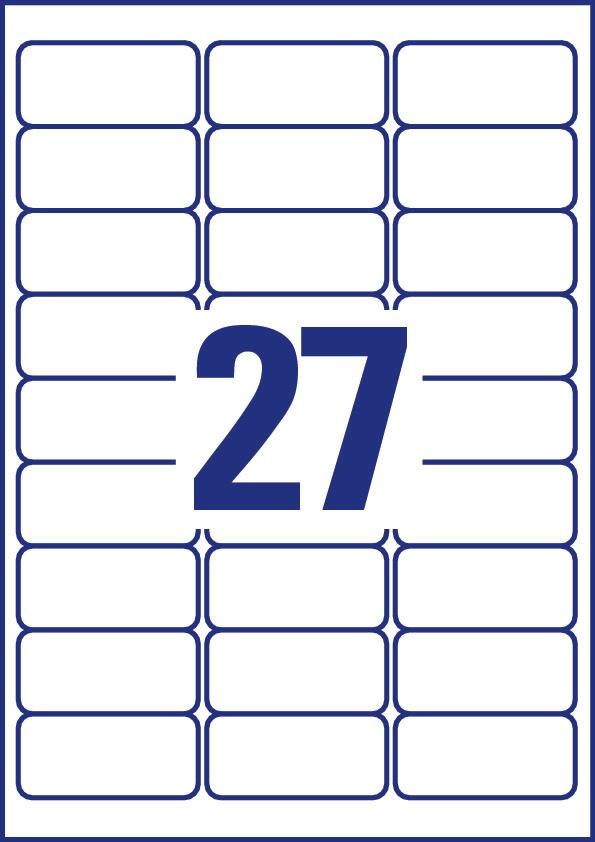 Avery Zweckform No. L4784-20 fehér színű 63,5 x 29,6 mm méretű, lézernyomtatóval nyomtatható, öntapadós textilre ragasztható névcímke, visszaszedhető ragasztóval A4-es íven - kiszerelés: 540 címke / 20 ív