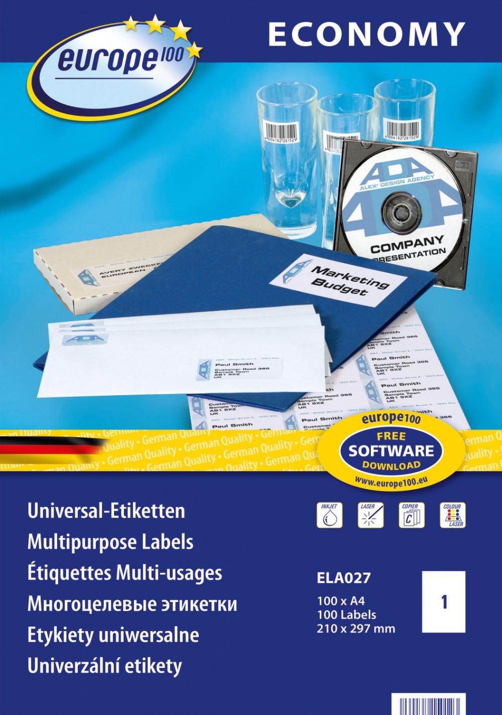 europe100 ELA027 univerzális 210 x 297 mm méretű fehér öntapadó etikett címke A4 -es íven - 100 etikett címke / doboz - 100 ív / doboz (ELA027)