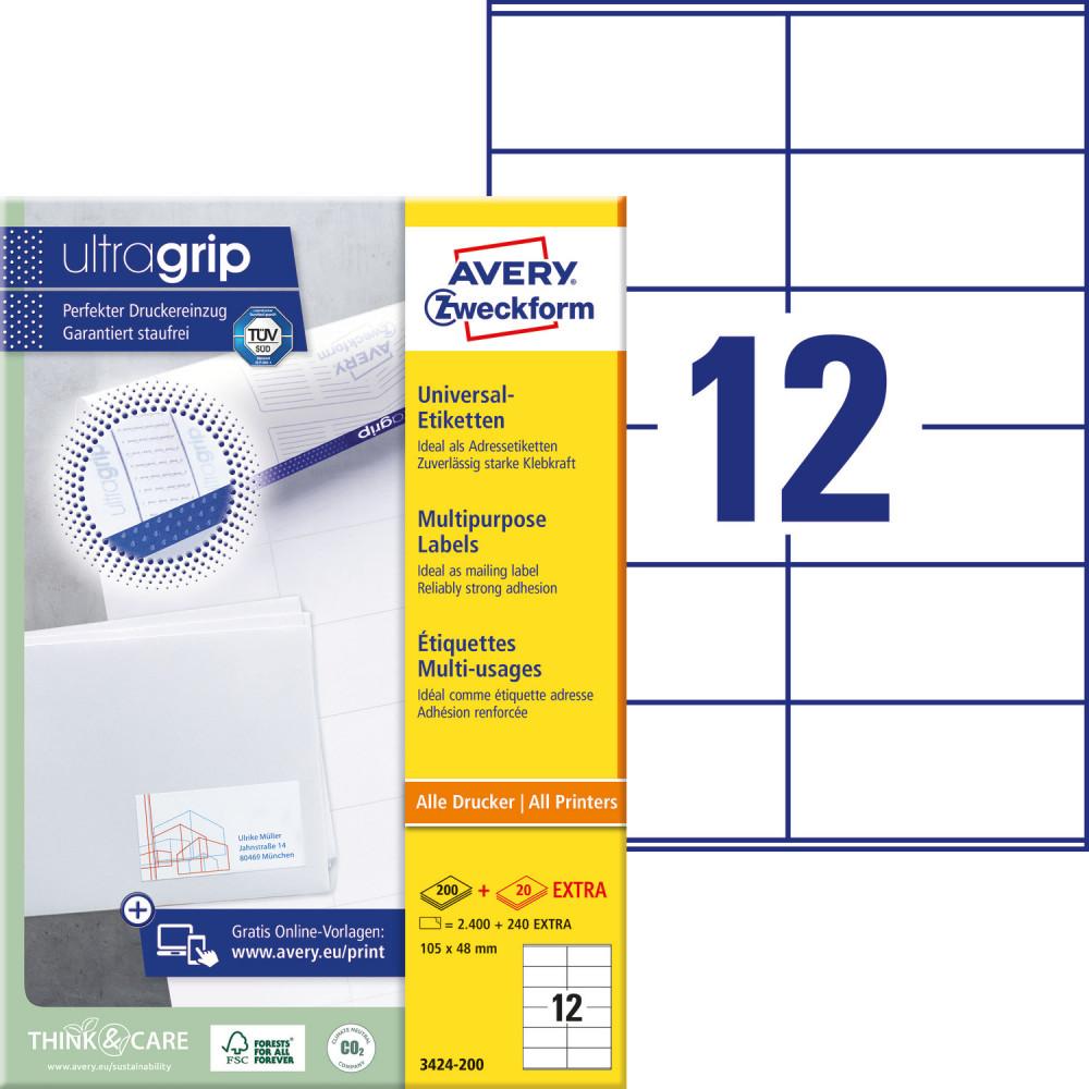 Avery Zweckform No. 3424-200 fehér színű 105 x 48 mm méretű, univerzálisan nyomtatható, öntapadós etikett címke, permanens ragasztóval A4-es íven - kiszerelés: 2640 címke / 220 ív