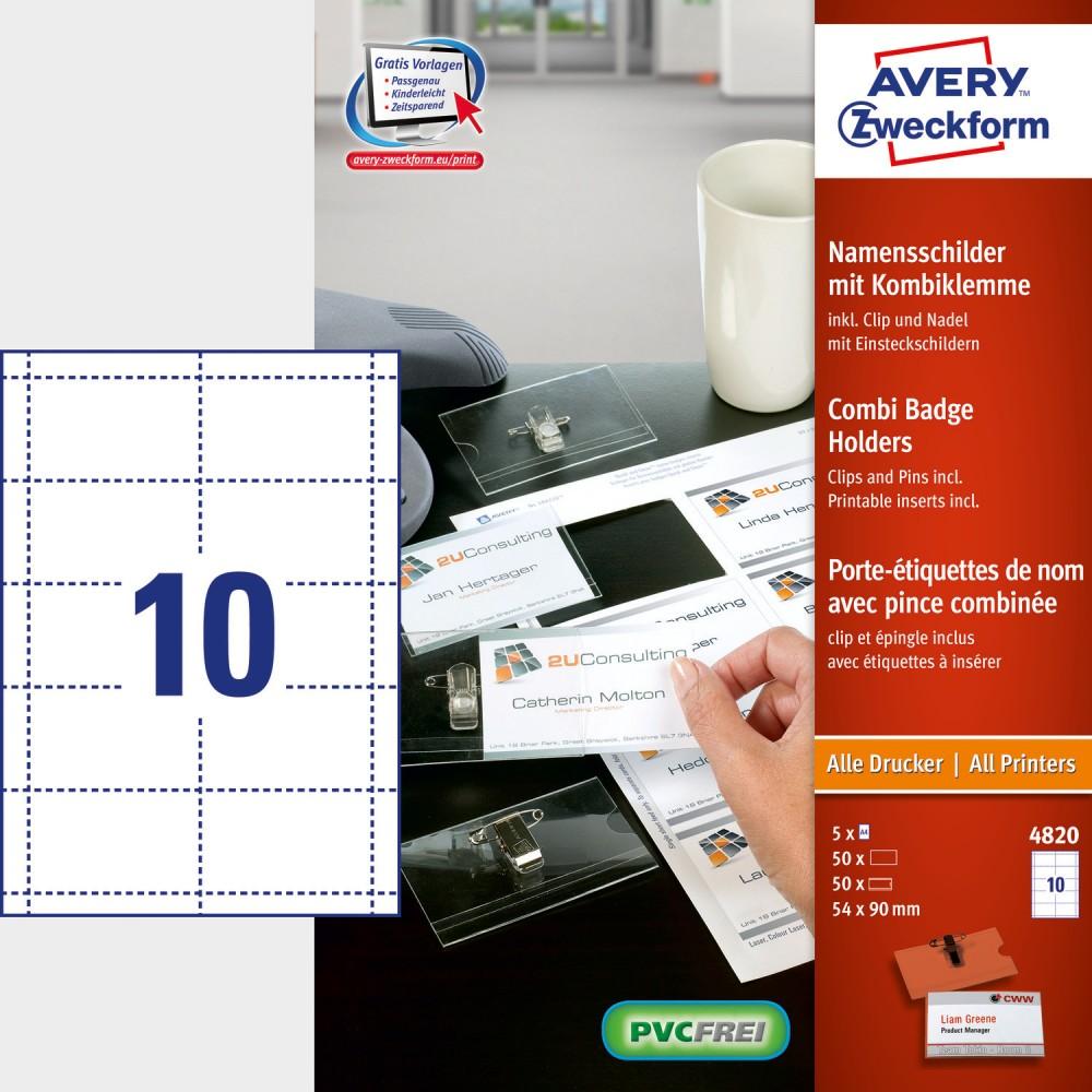 Avery Zweckform No. 4820 fehér színű 90 x 54 mm méretű, univerzálisan nyomtatható névkitűző betétlap, mikroperforált élekkel A4-es íven, 50 darab névkitűzővel - kiszerelés: 50 készlet / doboz