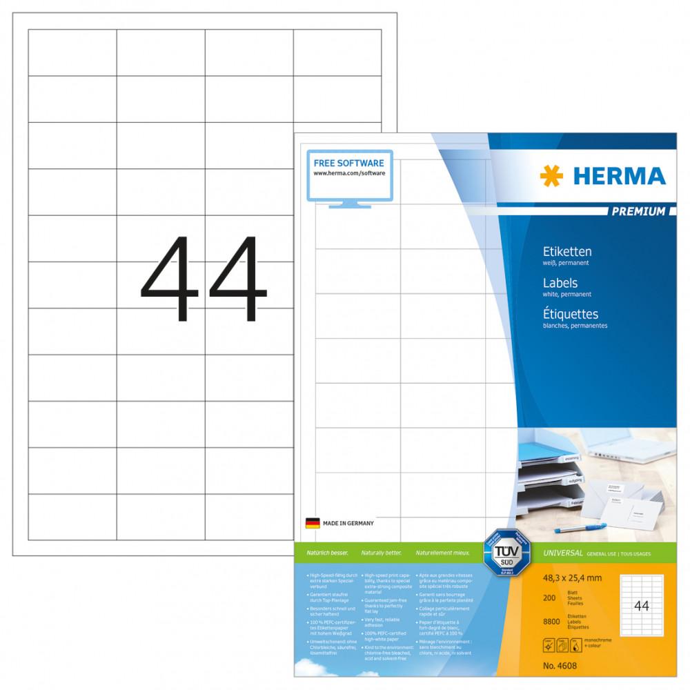 Herma No. 4608 univerzális 48,3 x 25,4 mm méretű, fehér öntapadós etikett címke A4-es íven - 8800 etikett címke / doboz - 200 ív / doboz (Herma 4608)