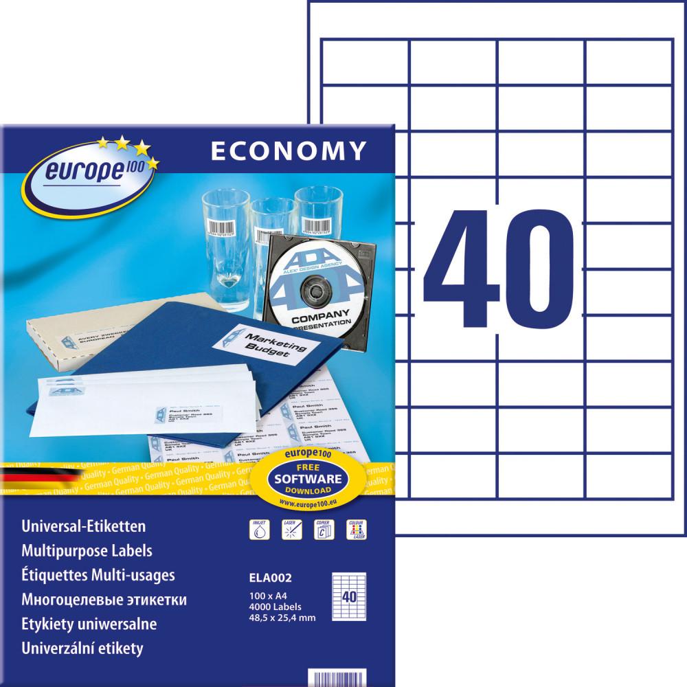 europe100 ELA002 univerzális 48,5 x 25,4 mm méretű fehér öntapadó etikett címke A4 -es íven - 4000 etikett címke / doboz - 100 ív / doboz (ELA002)