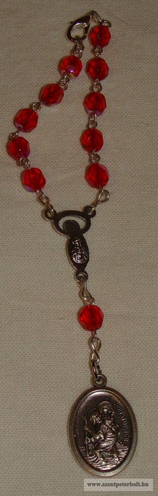 Szent Kristóf rózsafüzér üveggyöngy piros