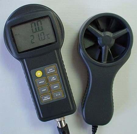Szélsebesség mérő hőmérséklet mérővel
