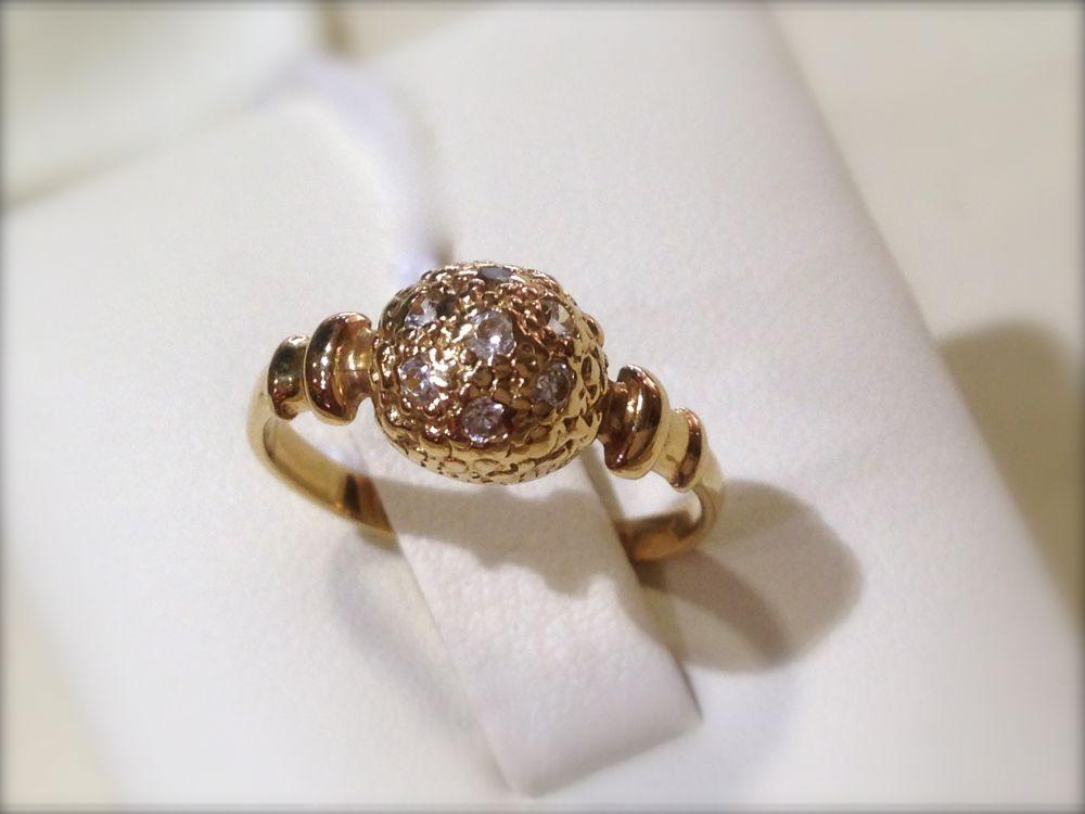 Sárga arany, köves gömb gyűrű Au 206