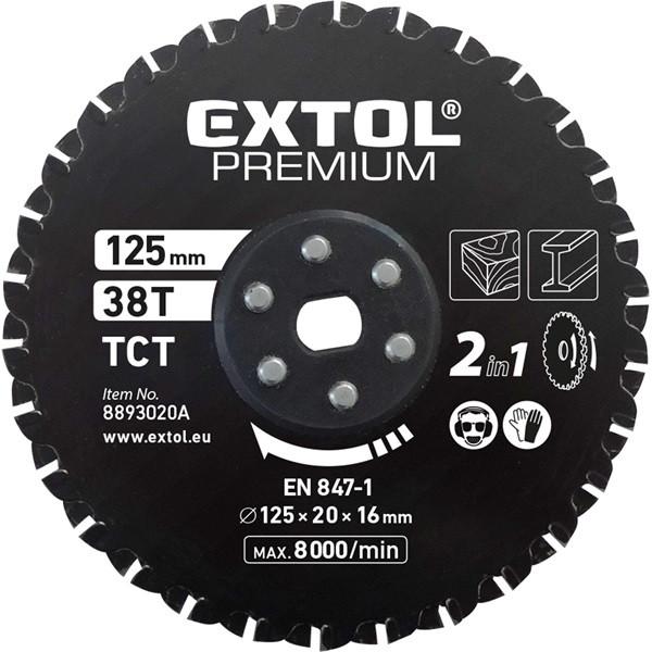 EXTOL PREMIUM Fűrészlap, keményfémlapkás 125×20×16mm, 38T, 2az1ben Twin Blade rendszer, fémre és fára, 8893020 vágógéphez