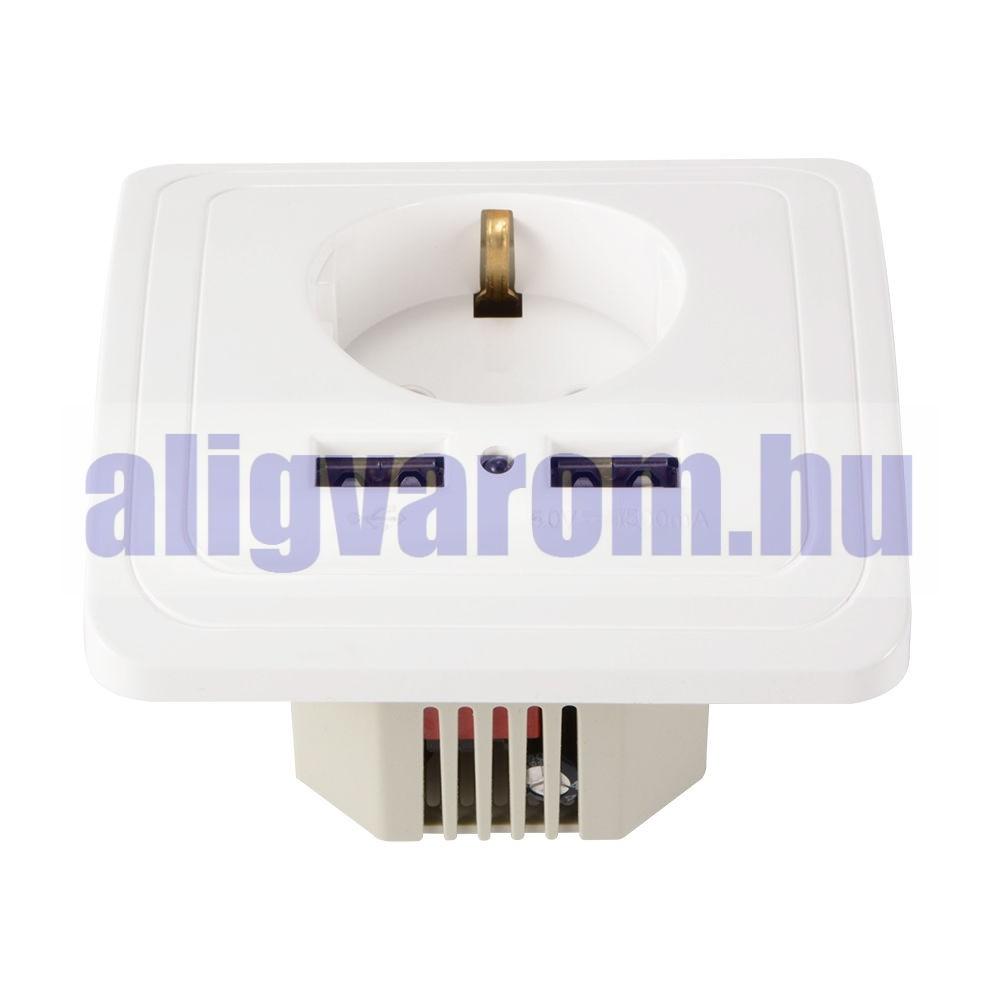 Hálózati konnektor 2 USB aljzattal Süllyesztett USB aljzatos fehér hálózati csatlakozó