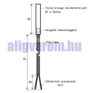 KTY81-110 hőmérséklet jeladó, érzékelő szenzor, hőmérő szenzor PVC kábel
