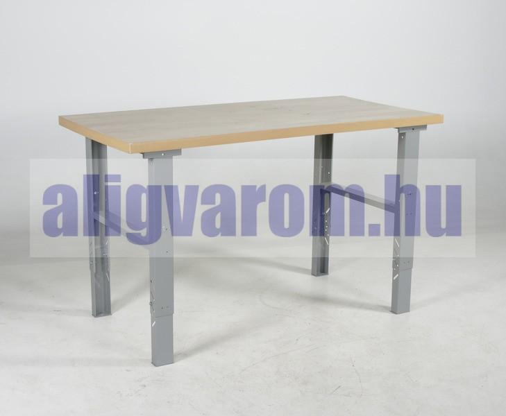 Műhelyasztal ipari kivitel 1600 mm 500 kg teherbírás állítható magasság 740-1100 mm 5 cm tölgyfa asztallap