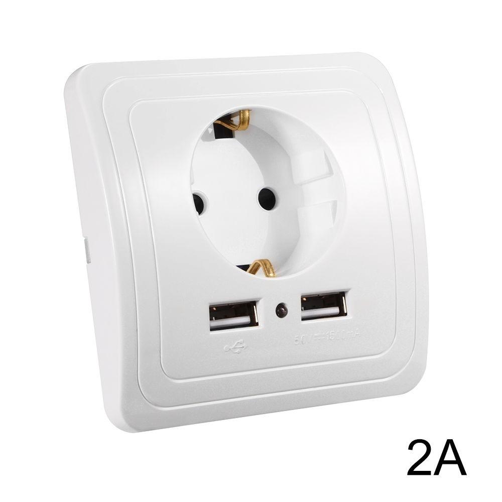 Hálózati konnektor 2 USB aljzattal Süllyesztett USB aljzatos fehér hálózati csatlakozó 230V