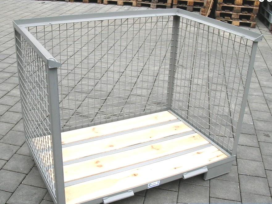 Rácsos tároló konténer oldalt nyitott DIN 15155 szabvány szerint, EUR raklap méret belül 800x1200x800 mm 1000 kg Gitterbox, GiBo