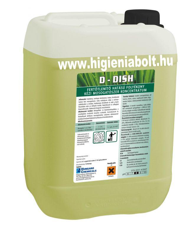 D - Dish Fertőtlenítő hatású folyékony kézi mosogatószer 5kg