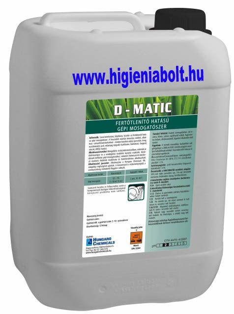 D-Matic Fertőtlenítő hatású, savas, gépi mosogatószer 20kg