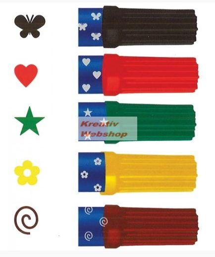 Nyomdázó készlet, filctollas - 6 szín és 6 forma
