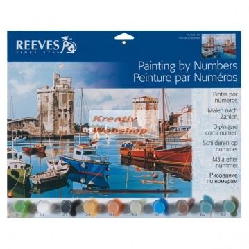 Kifestő készlet számok után akrilfestékkel, ecsettel, felnőtteknek - 30x40 cm - Kikötő