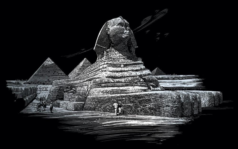 Nagy képkarcoló készlet karctűvel, felnőtteknek - 28x36 cm - Ezüst - Szfinx