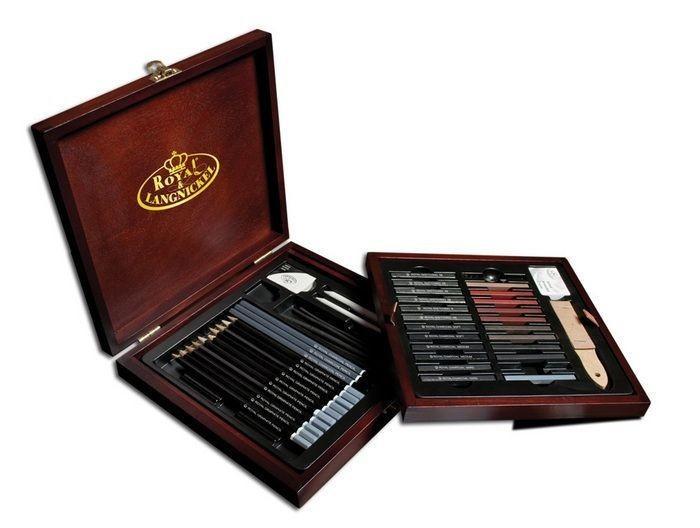 Nagy ceruzakészlet fadobozban - Royal SKETCHING - 50db-os - Újra kapható