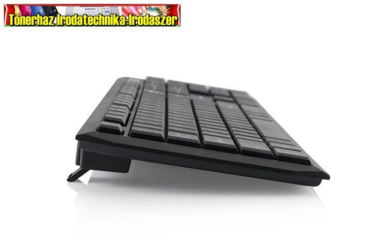 ModeCom Billentyűzet - MC-5007 (szálcsiszolt hatás; 12 multimédia gomb; USB; fekete; magyar)