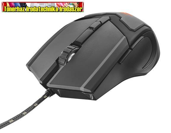 TRUST GXT101 Egér, vezetékes, optikai, USB, gaming,  fekete