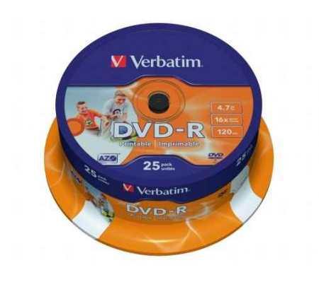 "Verbatim DVD-R 4,7 GB 16x, hengeren, szélesen nyomtatható, matt, ""ID"" 25db/henger"