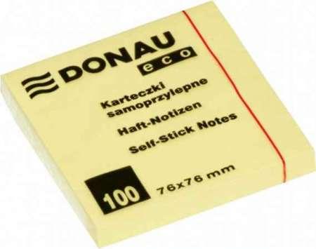 Donau ECO Öntapadó jegyzettömb pasztell sárga 100 lapos 76x76