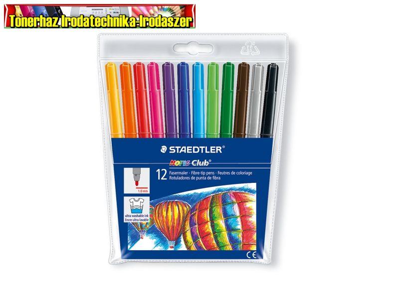 STAEDTLER Noris Club Filctoll készlet, 1 mm, kimosható, , 12 különböző szín,325WP12