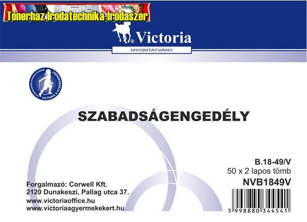 Szabadságengedély 50x2 A6 -B.18-49/V (18-49) Victoria