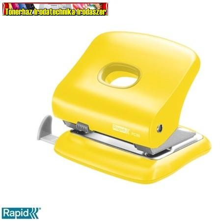 RAPID FC30 Lyukasztó, nagyteljesítményű, kétlyukú, 30 lap, sárga
