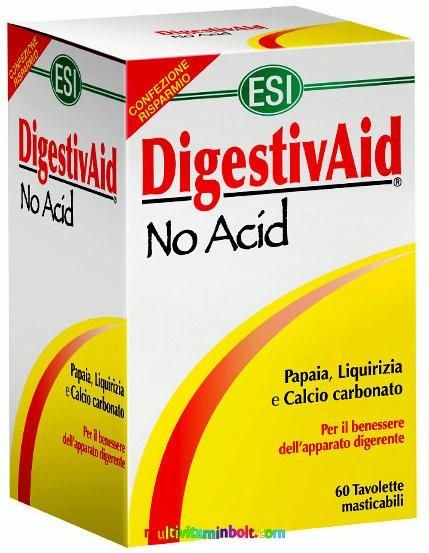 DigestivAid No Acid 60 db tabletta, szopogatós. Savlekötő, lúgosító, édesgyökér, papaya, alma pektin - ESI