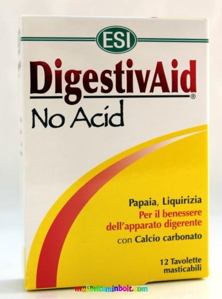 DigestivAid No Acid 12 db tabletta, szopogatós. Savlekötő, lúgosító, édesgyökér, papaya, alma pektin - ESI