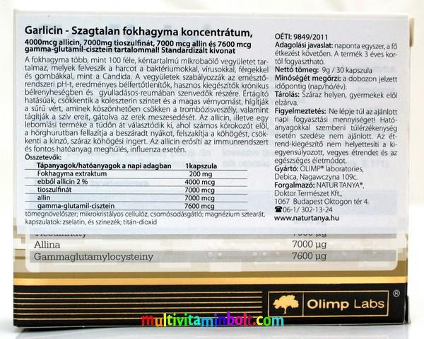 Garlicin 30 db kapszula, szagtalan fokhagyma koncentrátum - Standardizált, erős antibakteriális és gombaölő vegcin - Olimp Labs
