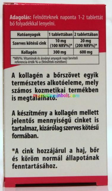 Kollagén Tripla 300 mg 60 db tabletta, Szerves cinkkel  10 mg - BioCo