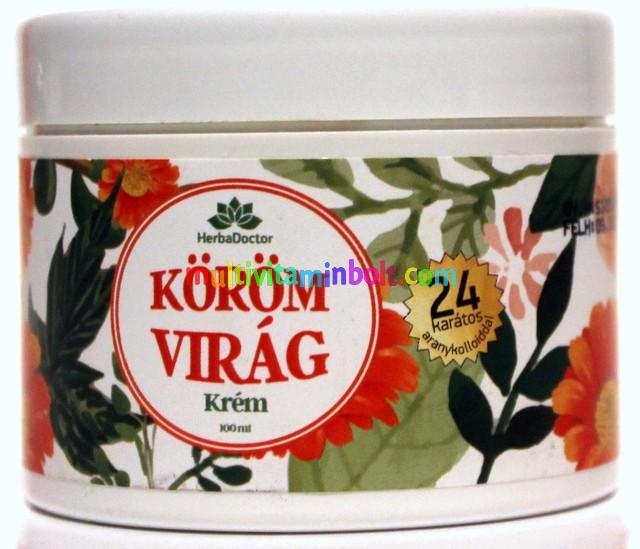 Körömvirág krém 100 ml, 24 karátos arannyal, sebes, száraz, gyulladt bőrre, visszerekre - HerbaDoctor