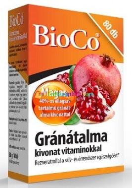 Gránátalma kivonat vitaminokkal 80 db tabletta, rezveratrol, folsav, vitaminok - BioCo