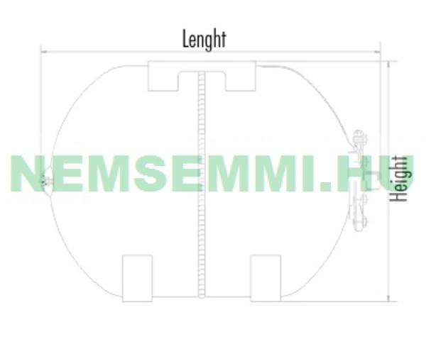 Rozsdamentes hidrofor tartály 80 liter fekvő inox saválló membrános zárt rendszerű használati víz tartály EPDM DIN4807 gumimembránnal