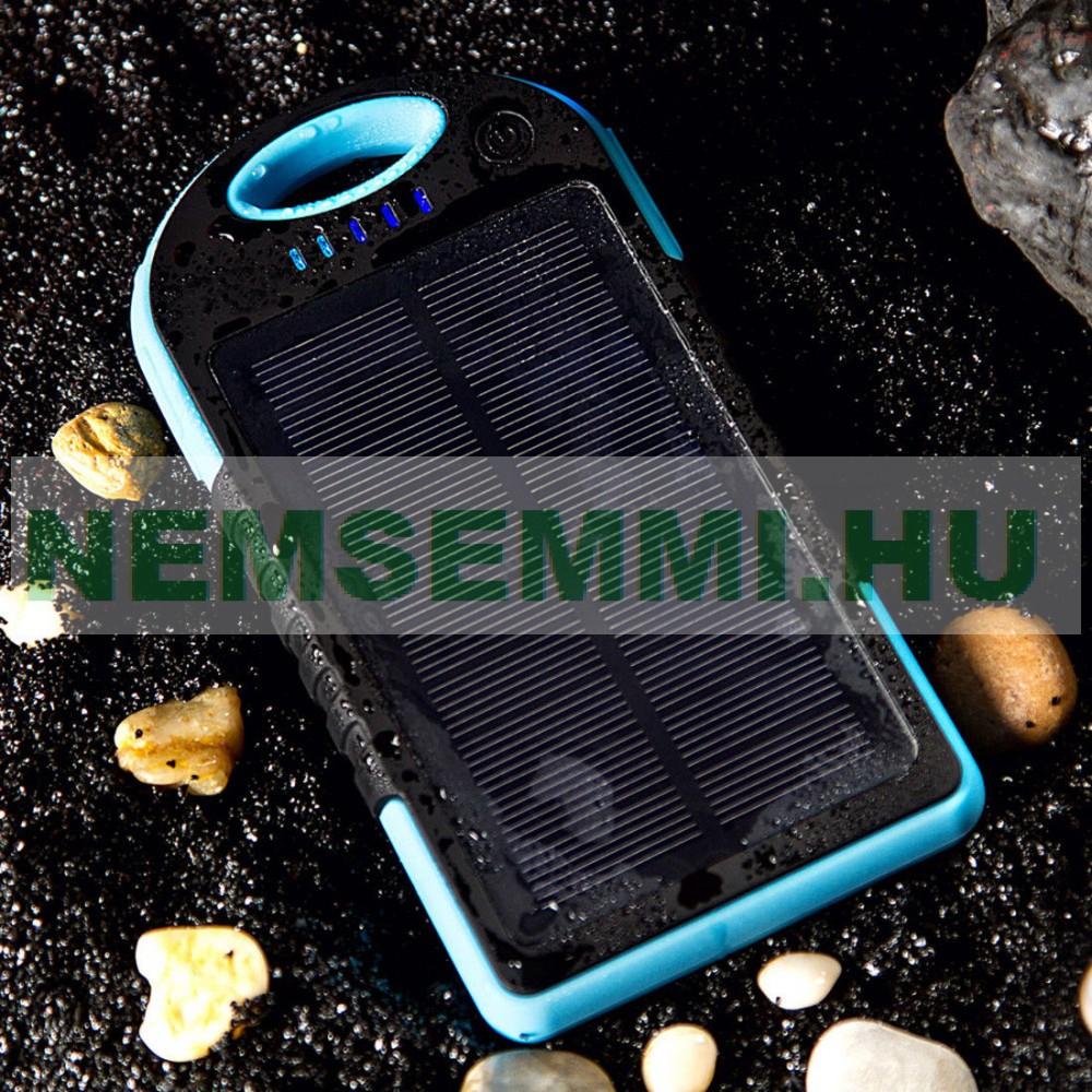 Napelemes powerbank 6000 mA akkumulátoros telefontöltő, ütés és csepp állló, beépített akkumulátorral + napelem 2 USB 5V