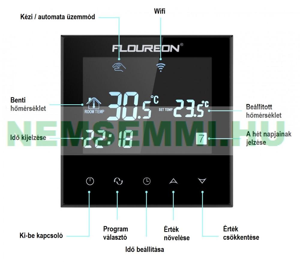 Érintőképernyős a szobatermosztát elektromos fűtés vagy fűtésszivattyú keringető szivattyú kapcsolására fehér színben