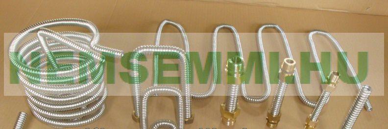 """DN12 100m inox, azaz saválló gégecső vízvezeték 100 méteres tekercsben.Vízvezeték, napkollektor bekötő cső flexibilis szolár vezeték.  Megfelel az 1/2"""" -os acél vagy a 14 mm-es rézcsőnek."""
