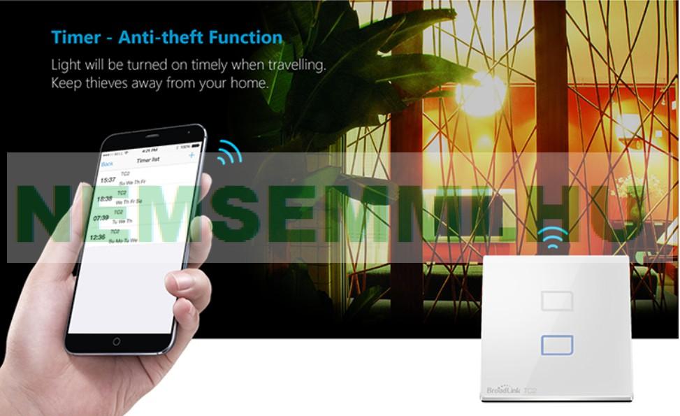 Okos villanykapcsoló, érintő kapcsoló, okostelefonról vezérelhető kapcsolás. 2 körös villanykapcsoló