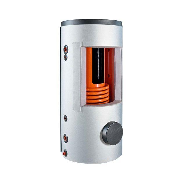 1 hőcserélős puffer tároló 500 liter - benne 140 literes belső tartály - puffer tartály fűtési melegvíz tárolásra és használati melegvíz készítésére