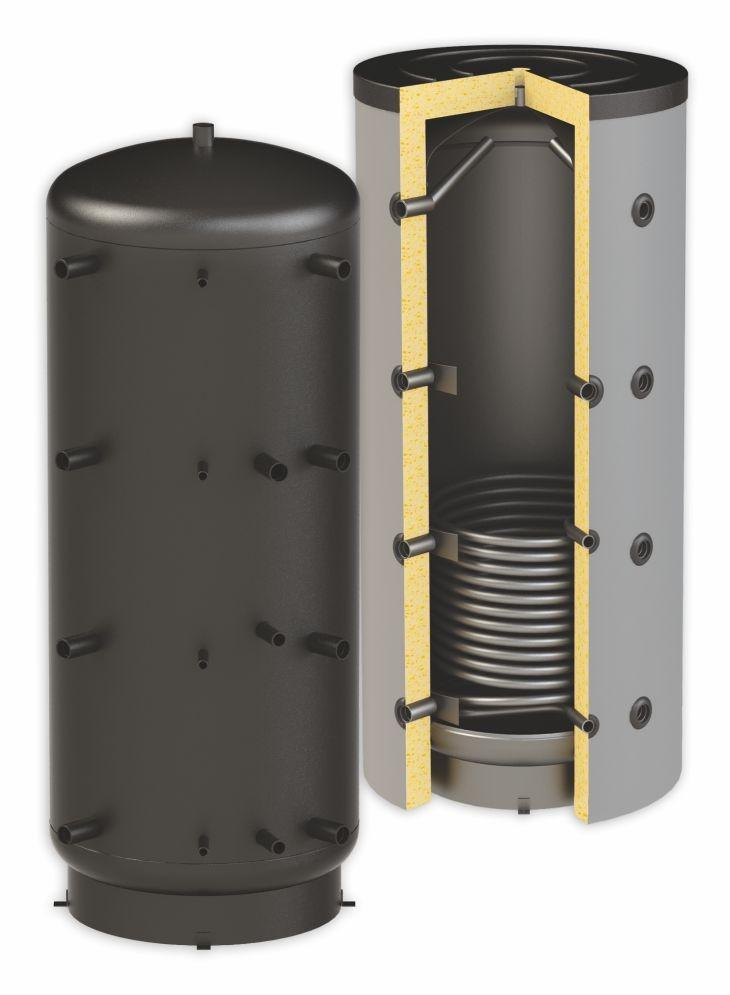 Puffertartály - 1 hőcserélővel 1500 literes tároló, speciálisan SAROKBA IS HELYEZHETŐ, melegvíz tárolás céljára.